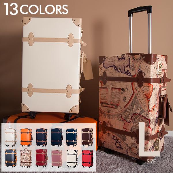 スーツケース Lサイズ トランクケース【800円OFFcoupon配布中】一年間保証 7日~14日用 大型 軽量 キャリーケース キャリーバッグ かわいい レトロ キャッシュレス5%還元 suitcase TANOBI FUPP03