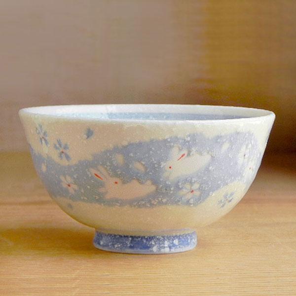 愛らしいうさぎのお茶碗です! ちぎり絵うさぎ茶碗 (青) カフェ食器/業務用  /ご飯/ごはん/ちゃわん/和食器/おいしい/器