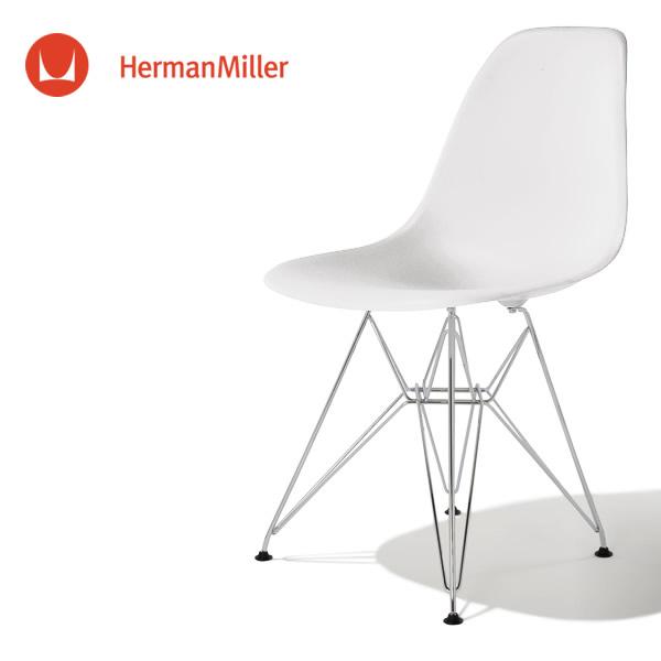 イームズ サイドシェルチェア DSR ホワイト クロームベース フェルトグライズ[DSR. 47 ZF E9]【Herman Miller ハーマンミラー 正規品】