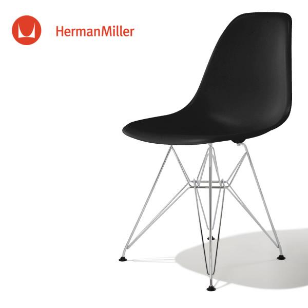 イームズ サイドシェルチェア DSR ブラック クロームベース フェルトグライズ[DSR. 47 ZA E9]【Herman Miller ハーマンミラー 正規品】