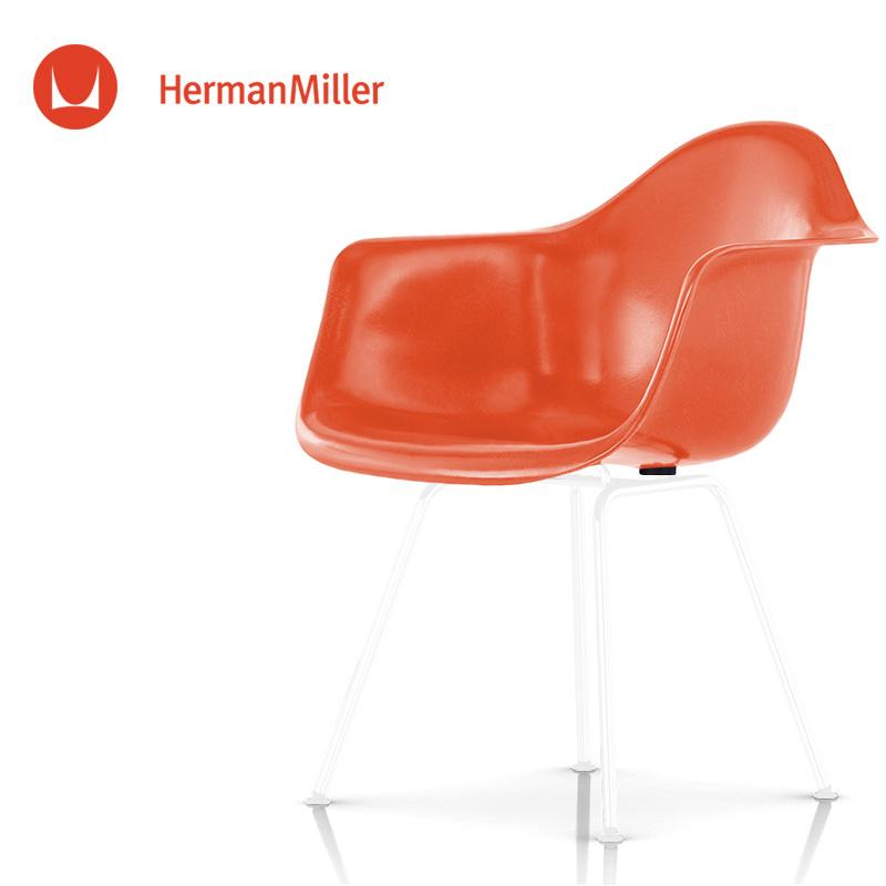 イームズ ファイバーグラスアームシェルチェア DFAX レッドオレンジ ホワイトベース スタンダードグライズ[DFAX. 91 114 E8]【Herman Miller ハーマンミラー 正規品】