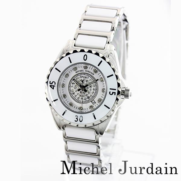 米歇爾·喬丹運動手錶天然金剛石女士陶瓷器表MJ-7100-L-1白