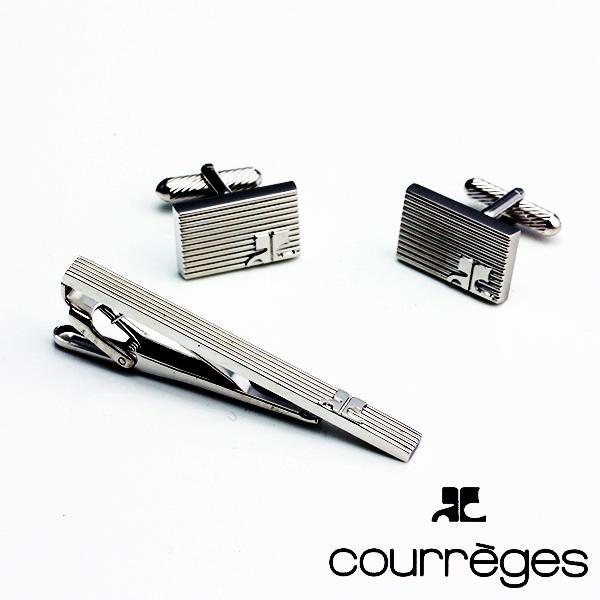 ANDRE COURREGES アンドレ・クレージュ メンズ ネクタイピン タイバー カフスセット 銀 ACT3501-ACC6501