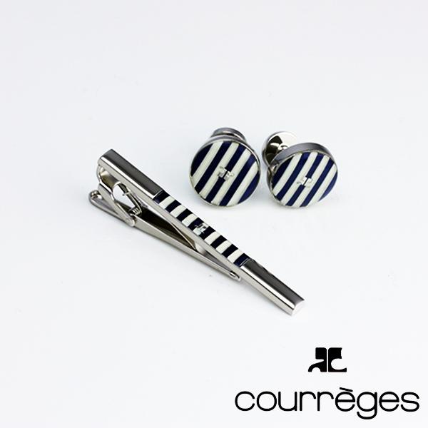 ANDRE COURREGES アンドレ・クレージュ メンズ ネクタイピン タイバー カフスセット 青×白 act5203-acc12003 送料無料