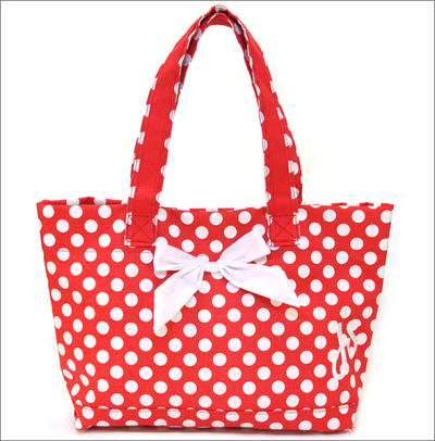 Tote Bag Ping Red White Polka Dot Pattern X 810 Js 94r With Jesse Steal Ribbon