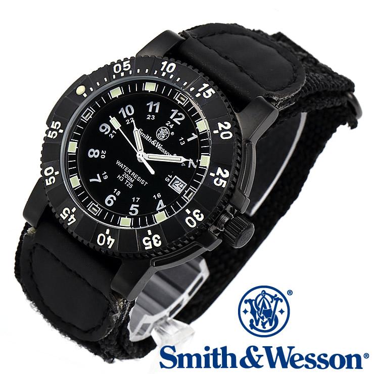 357 [送料無料] Smith [正規品] & TRITIUM スイス [雑誌掲載ブランド] スミス&ウェッソン NYLON [あす楽] SWW-357-N ミリタリー腕時計 TACTICAL SERIES トリチウム SWISS Wesson BLACK WATCH