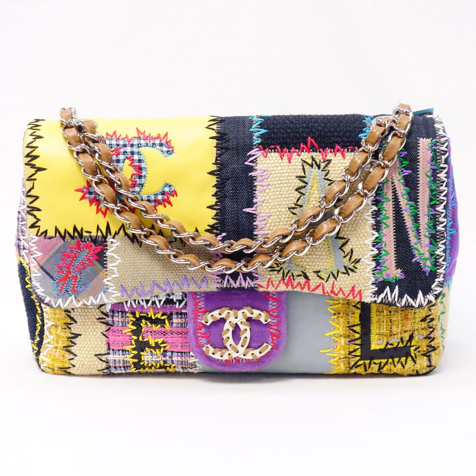 Chanel Bag Patchwork Multicolored X Silver Metal Ings Leather Tweed Patent Canvas Chain Shoulder Lady S T007 13