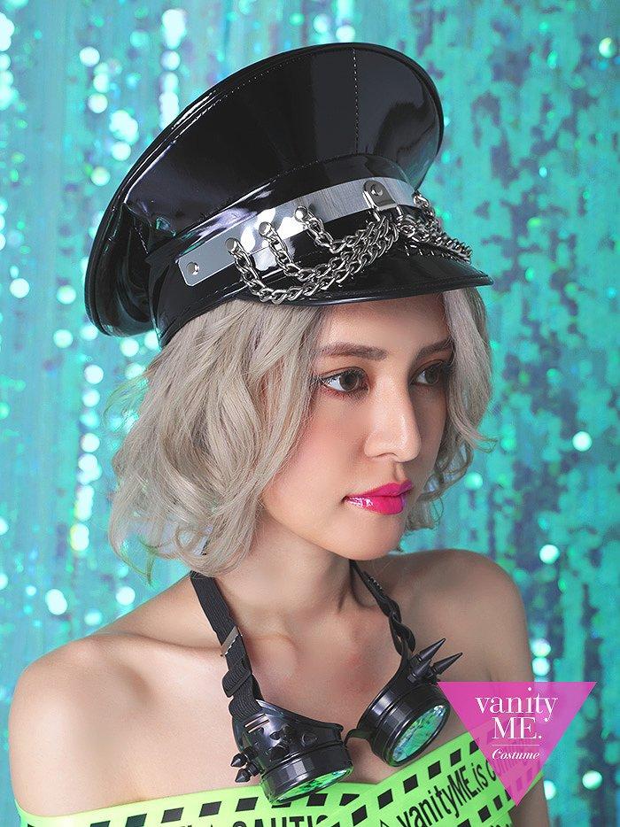 PUNKISH HAT BLACK パンキッシュチェーンハット (フリーサイズ)【 コスプレ 衣装 仮装 コスチューム ハロウィン】vcsit-0036