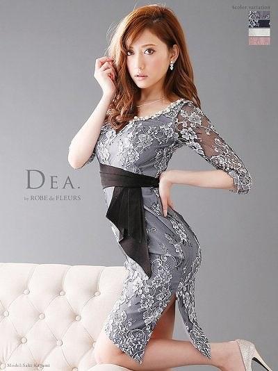 DEA ディア 【Lサイズあり】総レース五分袖アシンメトリータイトドレス (DE1197)