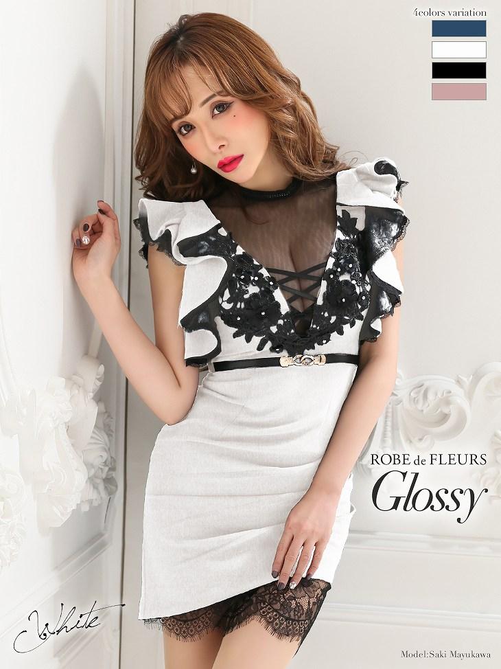 Glossy ローブドフルール グロッシー ホワイト バストレースアップ×ストレッチタイトミニドレス(GL2022-2)