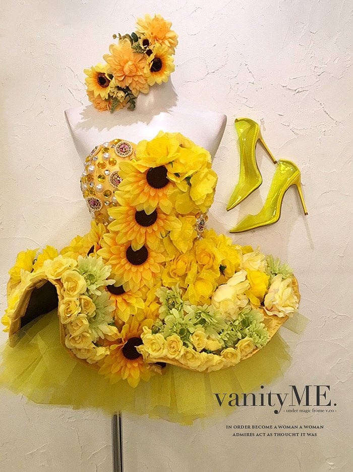 vanityME.couture HIMAWRI イエロー ミニドレスワンピースフリーサイズ vctr-0003