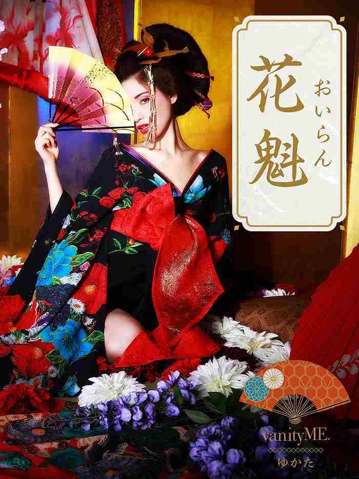 vanityME.【高級着物ドレス】浴衣 漆黒花魁 大人の色気 和柄 本格和装 vyt-170331-3