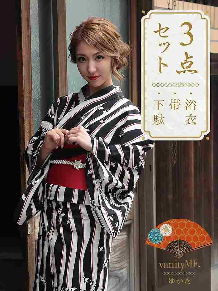 vanityME. 【高級浴衣3点セット】モードなストライプに鶴模様の浴衣 vyt-18006