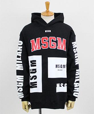 MSGM(エムエスジーエム) メンズ ロゴ プルオーバーパーカー [2540MM174] BLACK(99)