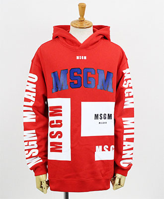 MSGM(エムエスジーエム) メンズ ロゴ プルオーバーパーカー [2540MM174] RED(18)