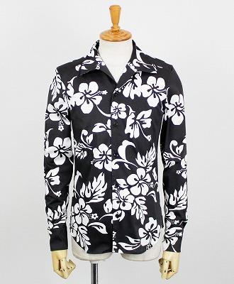 AKM(エイケイエム) アロハシャツ ITALIAN ALOHA [S099-CNU134] BLACK/WHITE(99/10)
