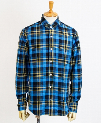GIANNETTO(ジャンネット) ホリゾンタルカラー チェックシャツ [92031452000L84] ブルー(0002)