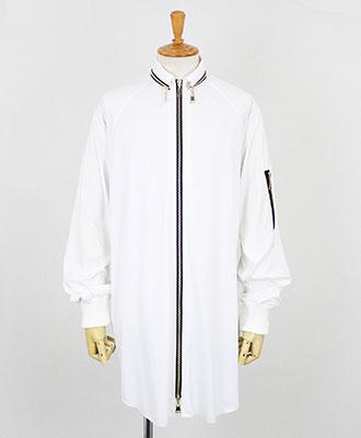 ACUOD by CHANU(アクオド バイ チャヌ) ユニセックス ジップロングシャツ [AC-18AW-RBST] WHITE