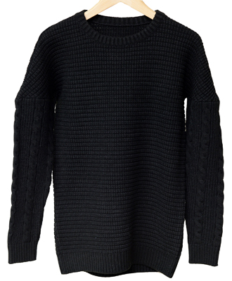 RESOUND CLOTHING / リサウンドクロージング / drop shoulder waffle rope knit / BLACK [RC9-K-001]