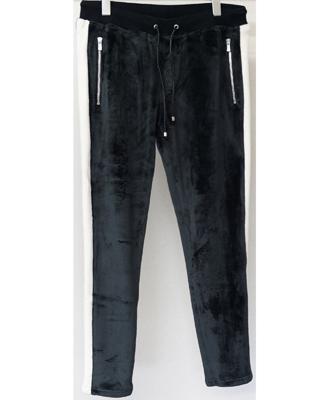 RESOUND CLOTHING / リサウンドクロージング / Velours fleece LINE PT / ベロアフリースラインスパンツ / BLACK / ブラック [RC10-ST-013]