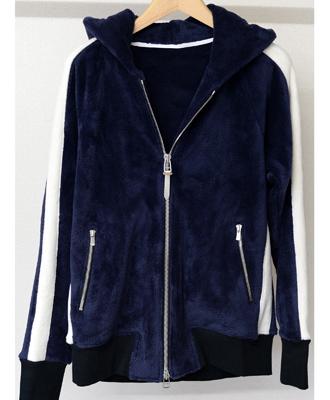 RESOUND CLOTHING / リサウンドクロージング / ベロアフリースラインジップパーカー / Velours fleece LINE ZIP UP Hoodie / NAVY [RC10-C-003]