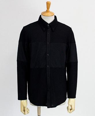 muta MARINE / ムータマリン / メンズ / ストレッチメッシュ 切替ラインシャツ / ブラック [MMBC-190822]