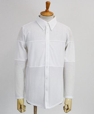 muta MARINE / ムータマリン / メンズ / ストレッチメッシュ 切替ラインシャツ / ホワイト [MMBC-190822]