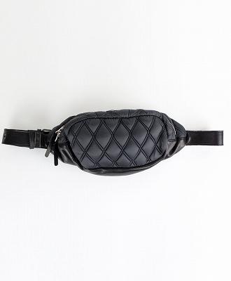 DECADE / ディケイド / ファブリックxリアルレザー・キルティングウェストボディショルダーバッグ / ブラック / Waist Body Shoulder Bag / BLACK [DCD-01123Q-BK]