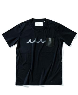 ACANTHUS×muta / アカンサス×ムータ / 半袖レザーポケットクルーネックTシャツ / ネイビー / leather pocket Tee MA1905 / navy [MA1905]
