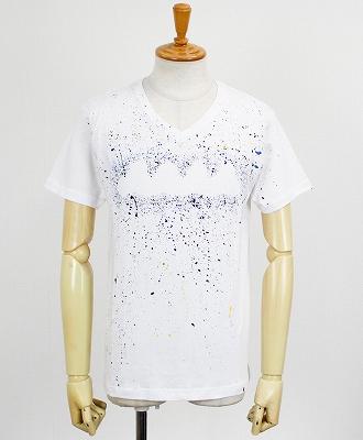 ACANTHUS×muta / アカンサス×ムータ / 半袖VネックTシャツ / ホワイトマルチ / embroidery logo hand splash Vneck Tee MA1909 / white multi [MA1909]