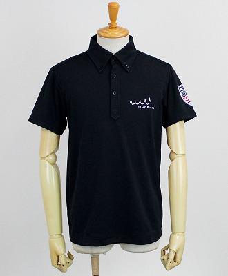muta MARINE GOLF / ムータマリンゴルフ / PIN FLAG ポロシャツ / ブラック