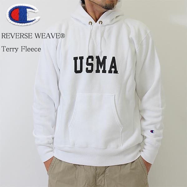 送料無料 Champion チャンピオン前Vスウェットパーカー USMA 白 C3-G124 厚地生地 裏起毛 フリース リバースウィーブ メンズ 秋冬 チャンピオン