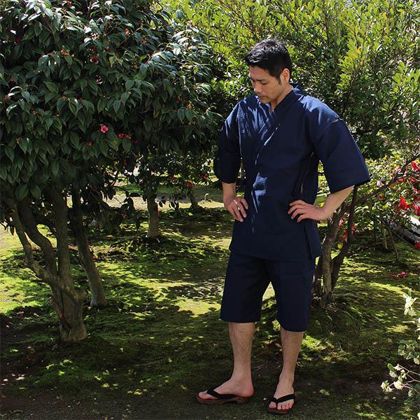 送料無料)日本製 メンズ 甚平(じんべい)綿100% 高級番手糸使用 1502/1507夏甚平
