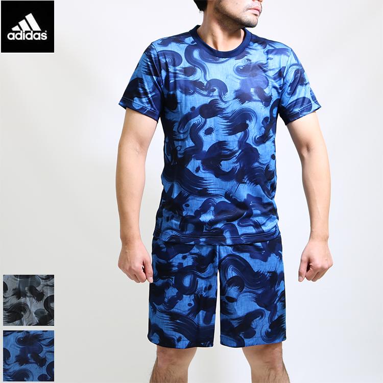 2018春夏新作)送料無料 adidas アディダス ブラッシュカモフラ柄/上下/セットアップ/メンズ/半袖tシャツとショートパンツの上下組み/吸水速乾/Climacool/メッシュ素材