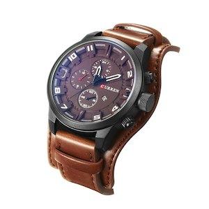 CUEEEN 腕時計 ブラウン メンズ オシャレ カジュアル アナログ 日付 30M防水 レザーベルト クォーツ f0510-237a[メール便発送、、代引不可][時計][ギフト]【YDKG-kd】【smtb-KD】