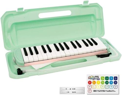 全商品送料無料 一部地域を除く KC 定価の67%OFF キョーリツ 鍵盤ハーモニカ メロディピアノ 32鍵 ドレミ表記シール P3001-32K 数量限定 《ミントピンク》 MINTPINK お名前シール付き クロス 送料無料