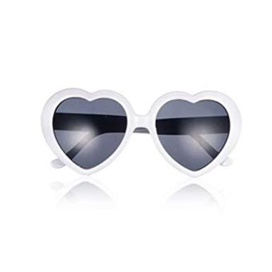 【全商品送料無料】(一部地域を除く) UVカット ハートサングラス ハート型 眼鏡 めがね メガネ コスプレ パーティー (ホワイト)[定形外郵便、送料無料、代引不可]