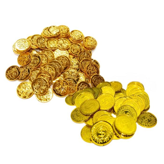 【全商品送料無料】(一部地域を除く) 海賊アイテム 金貨100枚 セット ゴールドコイン 金貨 メダル チップ 玩具 おもちゃ 海賊王 演劇 小道具[定形外郵便、送料無料、代引不可]