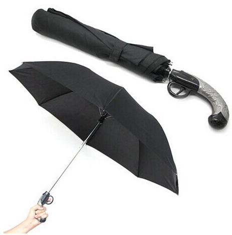 全商品送料無料 超歓迎された 一部地域を除く ピストル型 折りたたみ傘 《ブラック》 おもしろ傘 期間限定お試し価格 ワンタッチ自動開 拳銃型 送料無料