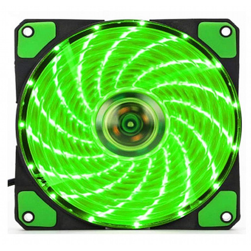 CPUクーラー用 冷却ファン 12cm 《グリーン》 光る LED ライト 静音 ケースファン【smtb-KD】[ゆうパケット発送、送料無料、代引不可]