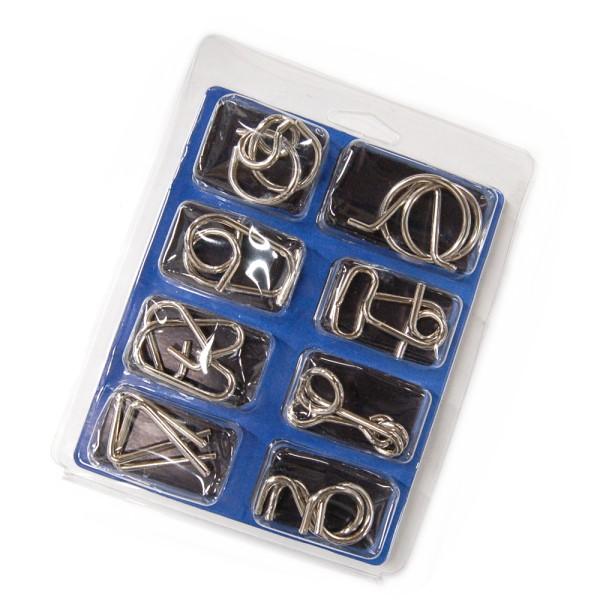 奉呈 ミステリーリング 知恵の輪 8個セット 《青》 パズル ゆうパケット発送 お歳暮 代引不可 チャイニーズリング 送料無料 知育玩具