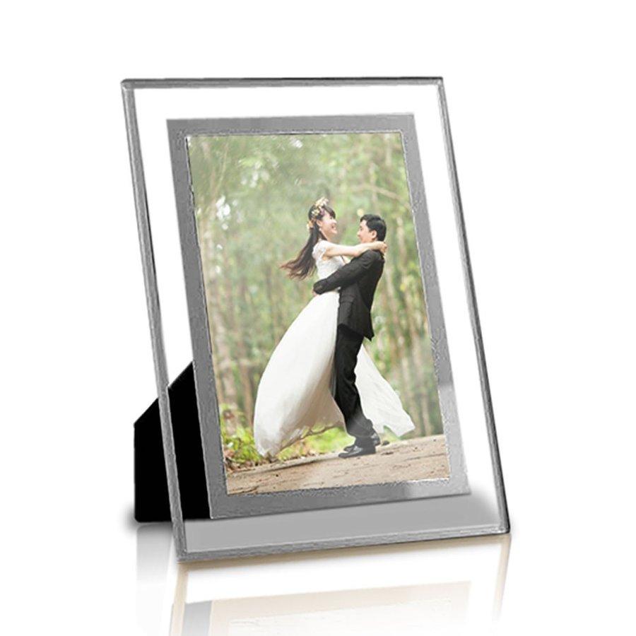 ガラス製 フォトフレーム 《シルバー》 供え 《2Lサイズ》 写真立て 『4年保証』 ゆうパケット発送 代引不可 写真フレーム 送料無料