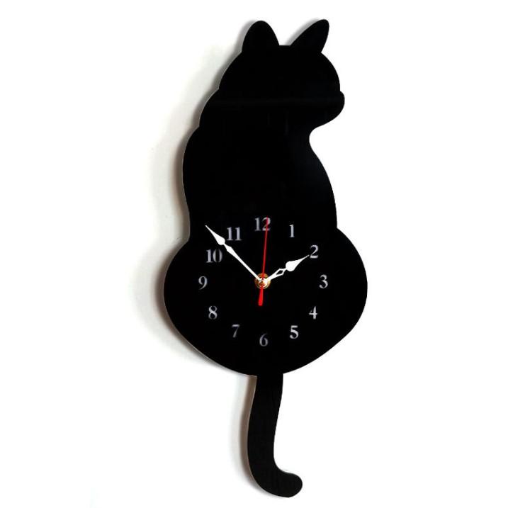 壁掛け時計 しっぽが動く おすすめ キャットクロック 《ブラック》 壁掛け かわいい 送料無料 猫 時計 卓出 代引不可 定形外郵便 ねこ