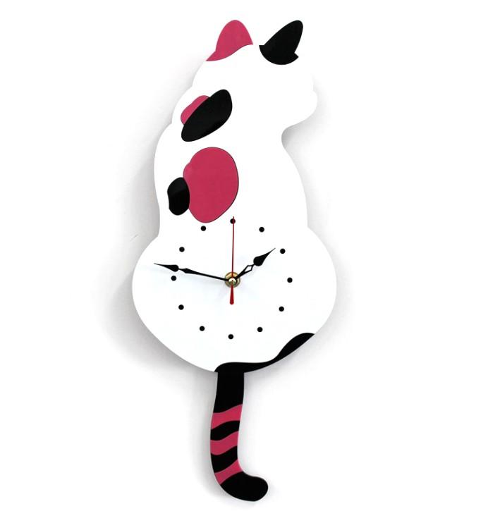 壁掛け時計 しっぽが動く キャットクロック 大注目 《ホワイト》 壁掛け かわいい 猫 代引不可 日本正規代理店品 ねこ 送料無料 定形外郵便
