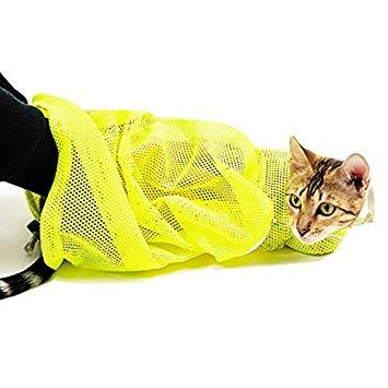 ねこ用 ネット みのむし袋 爪切り 耳掃除 シャンプー メッシュ ネコ 猫用[定形外郵便、送料無料、代引不可]