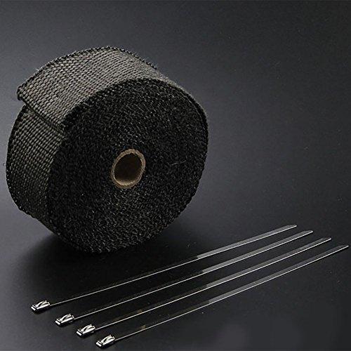 バイク用 耐熱バンテージ 《5m×50mm》 《ブラック》 マフラーに巻きつけて放熱を抑制 グラスファイバー製 600度[送料無料(一部地域を除く)]