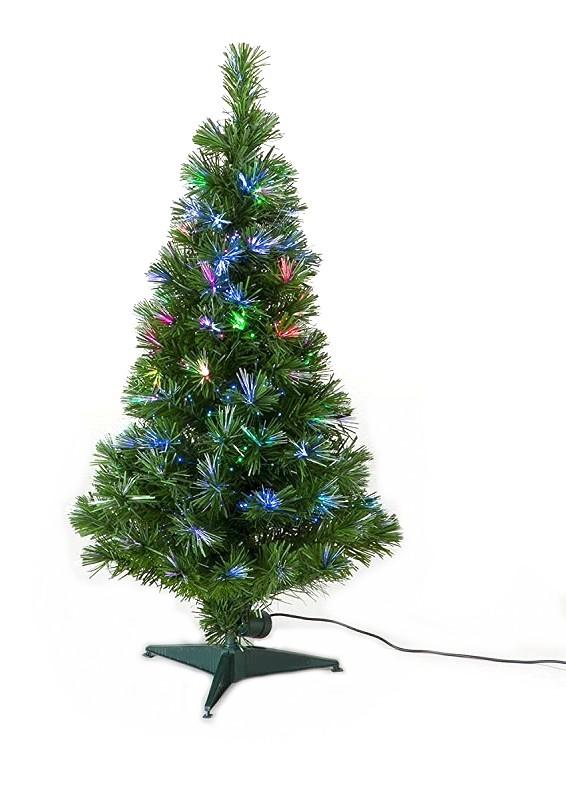 90cm ファイバーツリー グリーン LEDファイバークリスマスツリー Xmas 流れるように光が変化[ツリー][照明][送料無料(一部地域を除く)]