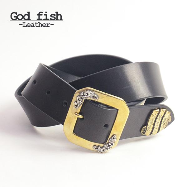 GOD FISH ゴッドフィッシュ ラッキードレープベルト アラベスク 本革 ブランド 真鍮 メンズ 男性