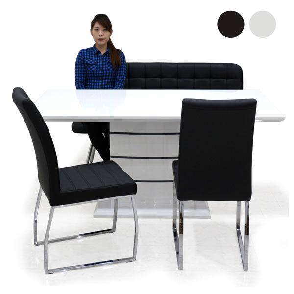 ダイニングセット 7点セット 鏡面 ダイニングテーブルセット 6人用 6人掛け 幅160cm 奥行き85cm ホワイト ブラック 選べる2色 テーブル ベンチ 黒 白 おしゃれ モダン 長方形 送料無料