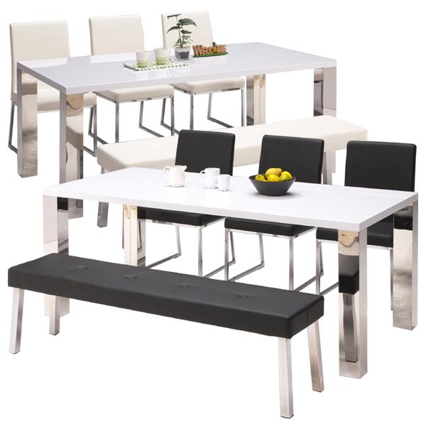 ダイニングセット 5点セット ダイニングテーブルセット 幅180cm 5人掛け 6人掛け ダイニングベンチ おしゃれ ステンレス 食卓セット 送料無料 通販
